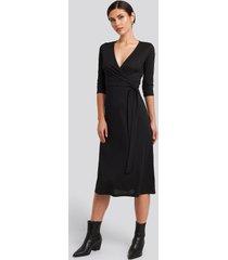 trendyol overlap detailed midi dress - black