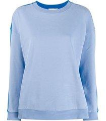 chinti and parker stripe panel sweatshirt - blue