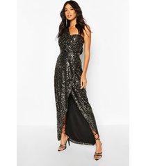 maxi jurk met pailetten, zwart