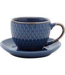 conjunto 4 xícaras de porcelana p/café c/pires azul 90ml