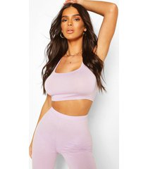 thick strap square neck crop top, lilac