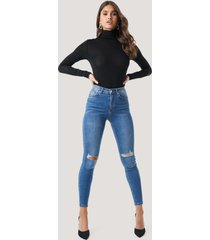 na-kd skinny high waist destroyed jeans - blue