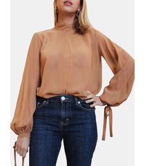 camicetta annodata con colletto alla coreana a maniche lunghe tinta unita per donna