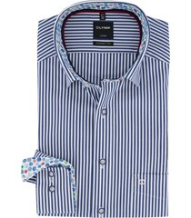 gestreept overhemd olymp donkerblauw