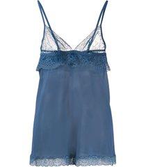 la perla camisola com recorte de renda - azul