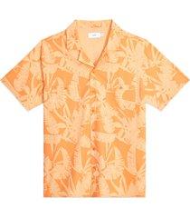 men's onia men's palm print short sleeve stretch chambray button-up camp shirt, size xx-large - orange