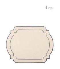 kit de jogo americano com bordado 04 peças - off white
