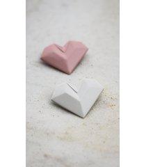 broszka porcelanowa origami serce biała