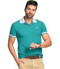 camisa pólo tony menswear piquet com elastano verde/cinza