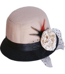 sombrero bucket greta crema negro viva felicia