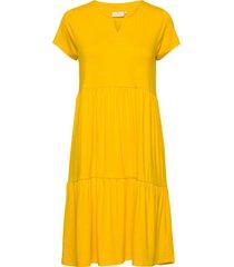 kapetra jersey dress knälång klänning gul kaffe