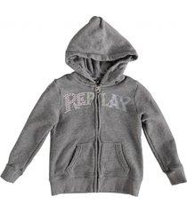 replay grijs sweatvest hoodie met studs logo