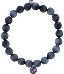 amethyst pave disc charm bracelet