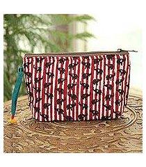 batik cotton cosmetic bag, 'elephant harmony in chili' (india)
