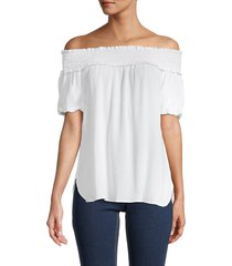 saks fifth avenue women's off-the-shoulder smocked top - white - size l