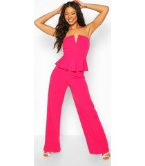 v bar detail peplum waist jumpsuit, hot pink