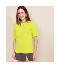 t-shirt oversized manga curta decote redondo mindset verde