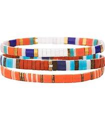 luxe kate 3-piece goldtone & enamel stretch bracelet set