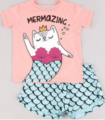 "pijama infantil ""mermazing"" manga curta rosa"