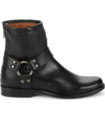 back-zip leather booties