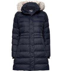 th ess tyra down coat with fur gevoerde lange jas blauw tommy hilfiger