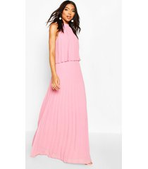 tall halterneck pleated double layer maxi dress, blush