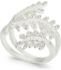 charter club fine silver plate crystal leaf wrap ring, created for macy's