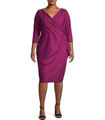 alex evenings women's plus v-neck knee-length dress - navy - size 22w