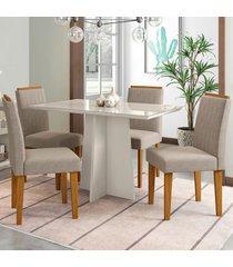 mesa de jantar 4 lugares ana 1289 100% mdf off white/ypê - new ceval
