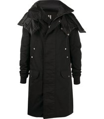 rick owens spread-collar long coat - black