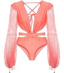 patbo mesh-sleeve swimsuit - pink