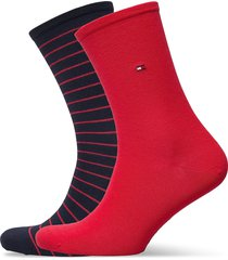 th women sock 2p small stripe lingerie socks regular socks röd tommy hilfiger