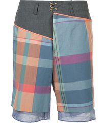 kolor plaid bermuda shorts - multicolour