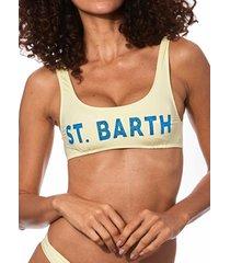 mc2 saint barth yellow pastel bralette with logo glitter #pastelcolors
