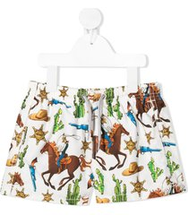 mc2 saint barth western print swim shorts - white