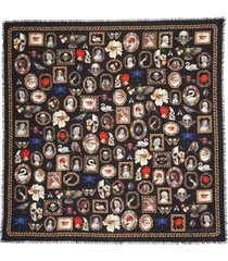 women's alexander mcqueen cameo curio print wool scarf, size one size - black