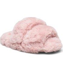 double strap fur lady slipper slippers tofflor rosa hunkemöller