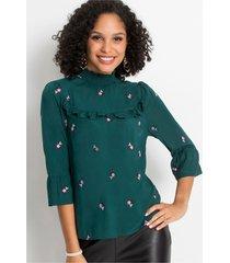 blouse met volant en borduursel