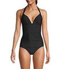 calvin klein women's lqd shirred halter one-piece swimsuit - black - size 6