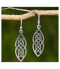 sterling silver dangle earrings, 'celtic braid' (thailand)
