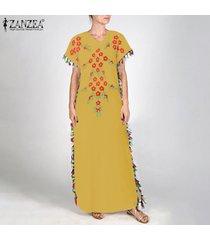 zanzea mujeres borlas camiseta del verano de bohemia del vestido vestido de tirantes vestido maxi kaftan -amarillo