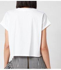 balmain women's cropped flocked logo t-shirt - blanc/noir - l