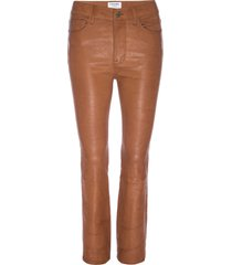 women's frame le crop mini boot leather pants, size 24 - brown