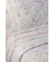 colcha com porta travesseiro matelada 200 fios candy - scavone - branco/rosa - dafiti