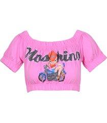 moschino designer t-shirts & tops, pink signature printed cotton women's crop-top