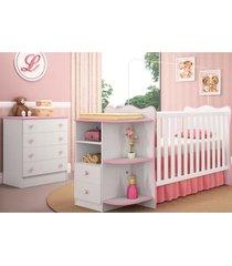 jogo quarto infantil cômoda e berço com cantoneira doce sonho branco/rosa qmovi