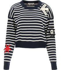 alexander mcqueen striped sweater with crochet embroidery