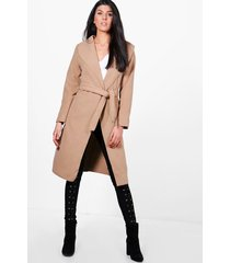 belted wool look shawl collar coat, camel