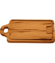 tábua para churrasco tramontina retangular média em madeira muiracatiara com acabamento envernizado com alça 34 x 23 cm