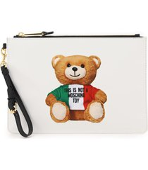 moschino pouch with italian teddy bear print